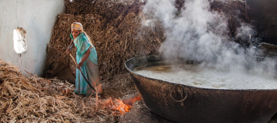 a jaggery factory worker at a unit near hampi