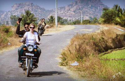 moped ride across the country side of hampi