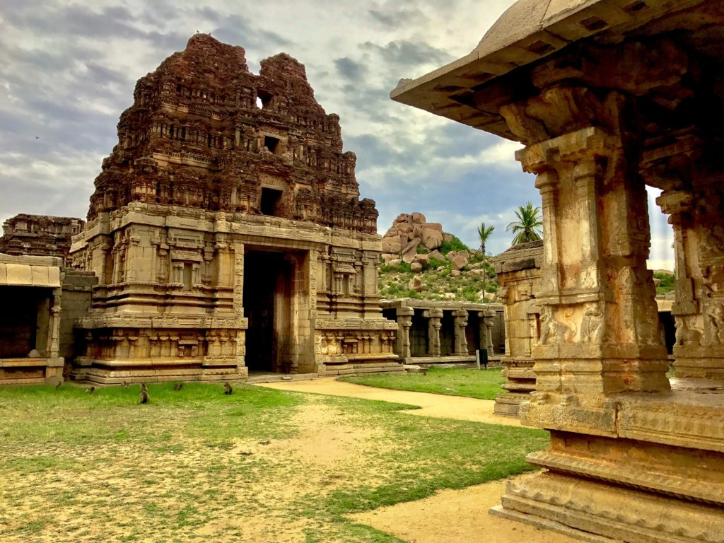 Inside view of Mantapa and Gopura of Achutaraya Temple in Hampi