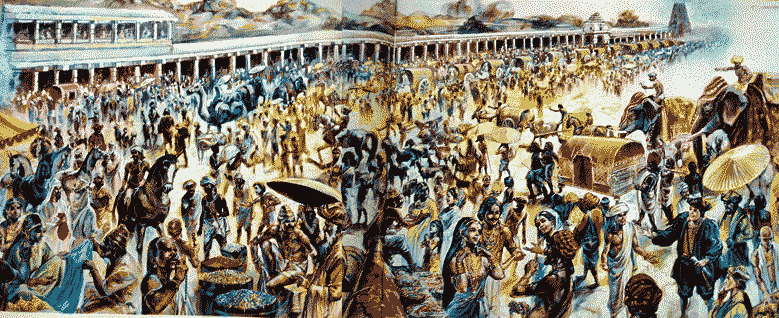 illustration of vijayanagara empire bazaar